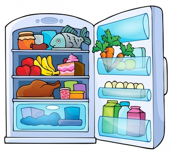 Open fridge clipart.