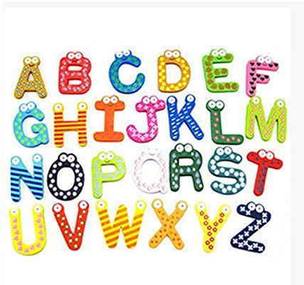 26pcs Funky Fun Colorful Wooden Magnetic Letters AZ Wooden Fridge Magnets  Kid toys Education.