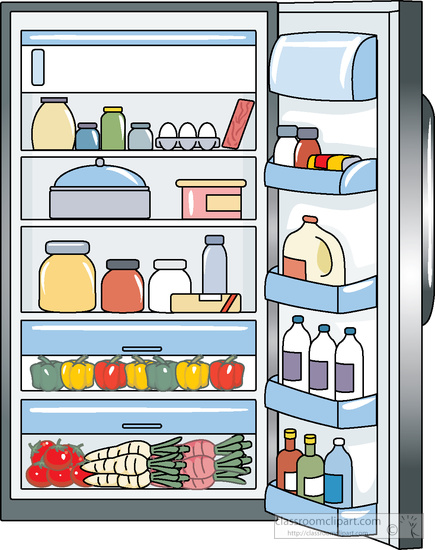 Open fridge clipart.