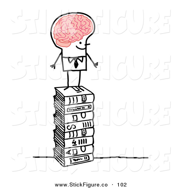 Clip Art of a Stick People Character Man with a Big Brain.