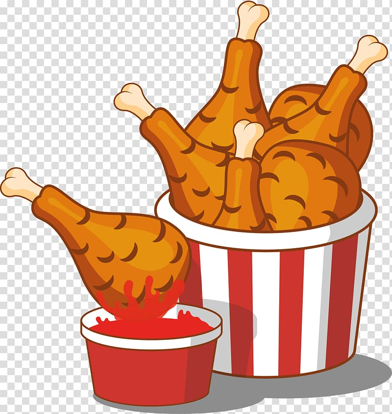 Fried chicken inside bucket illustration, Fried chicken.