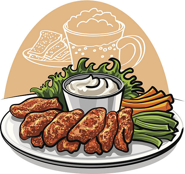 Fried Chicken Wing Clip Art, Vector Images & Illustrations.