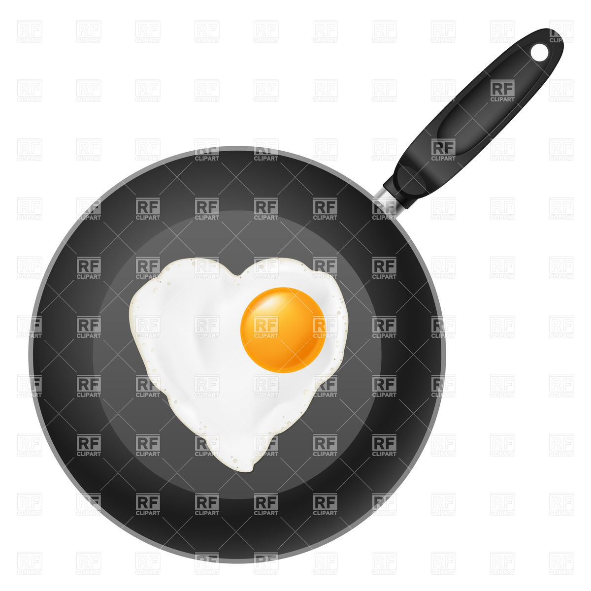 Frying pan with heart.