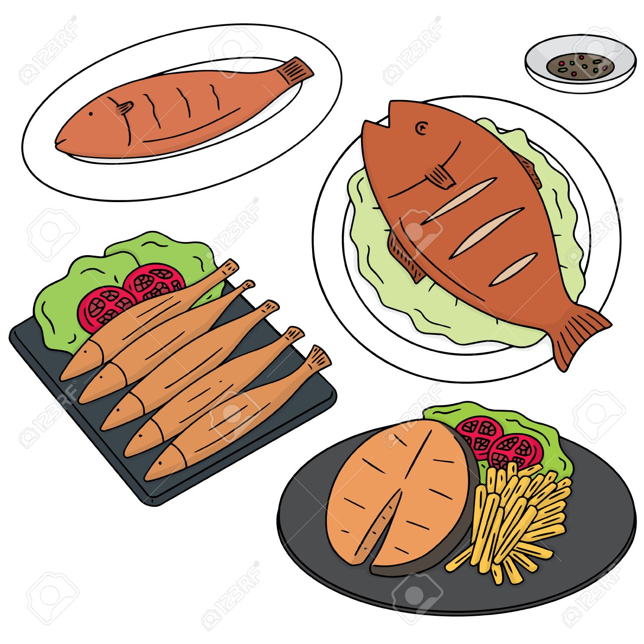 vector set of fried fish.