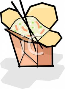 Art Image: Two Chopsticks with a Box of Fried Rice.
