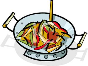 Dish of Stir Fried Veggies Clipart Image.