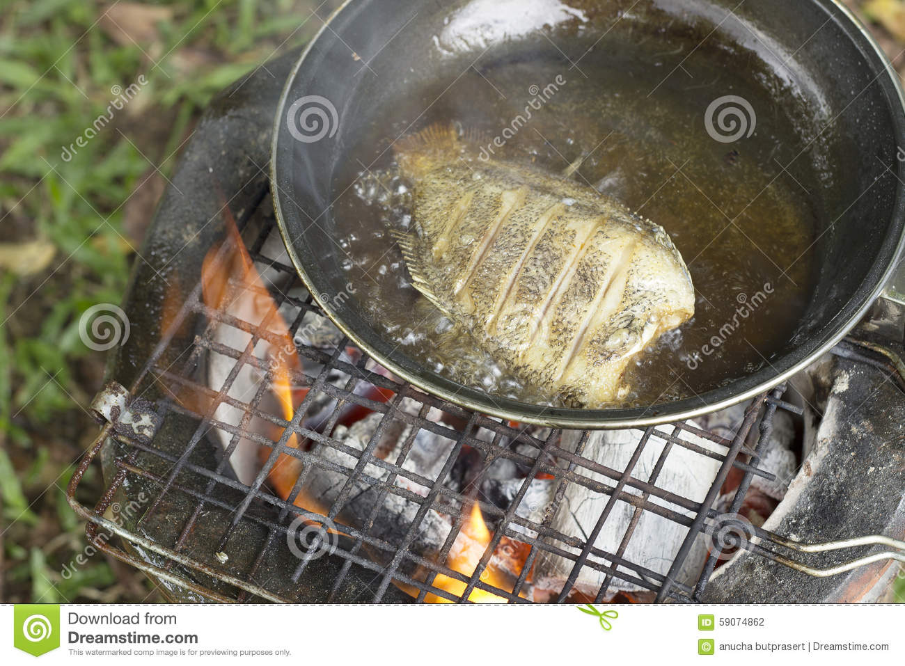 Cooking Fry The Fish On Camping In The Forest. Stock Photo.