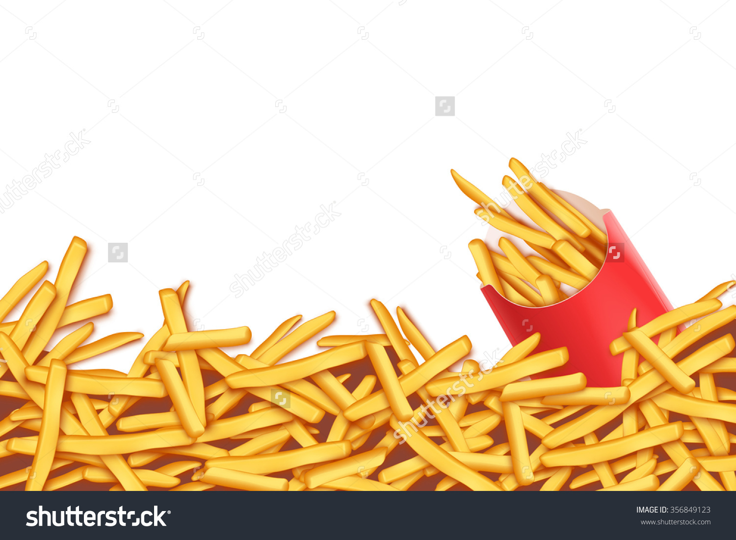 Illustration French Fries Red Pack On Stock Vector 356849123.