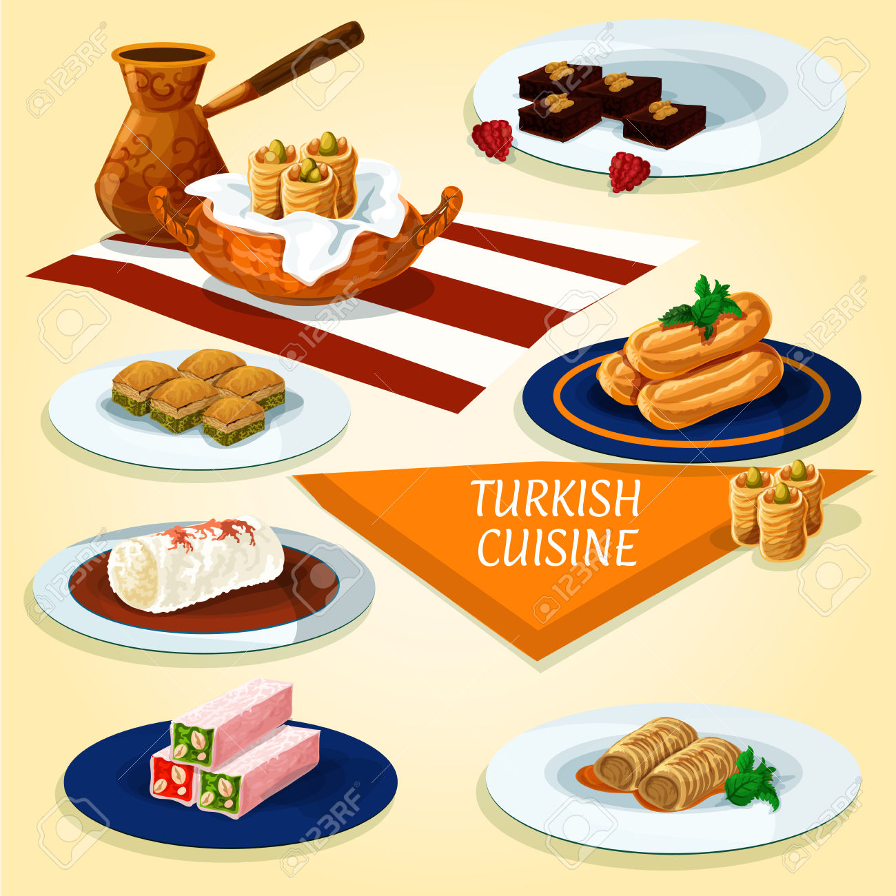 Turkish Cuisine Delights And Dessert Pastry Icon With Coffee.