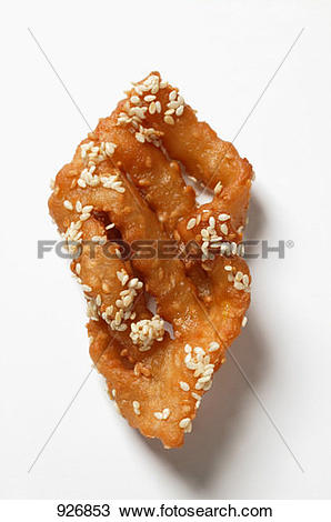 Stock Photo of A fried pastry with honey and sesame (Morocco.