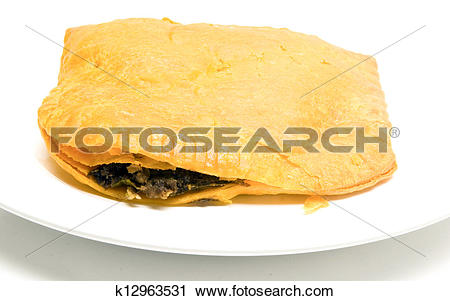 Stock Photography of Jamaican beef pattie patty fried pastry food.