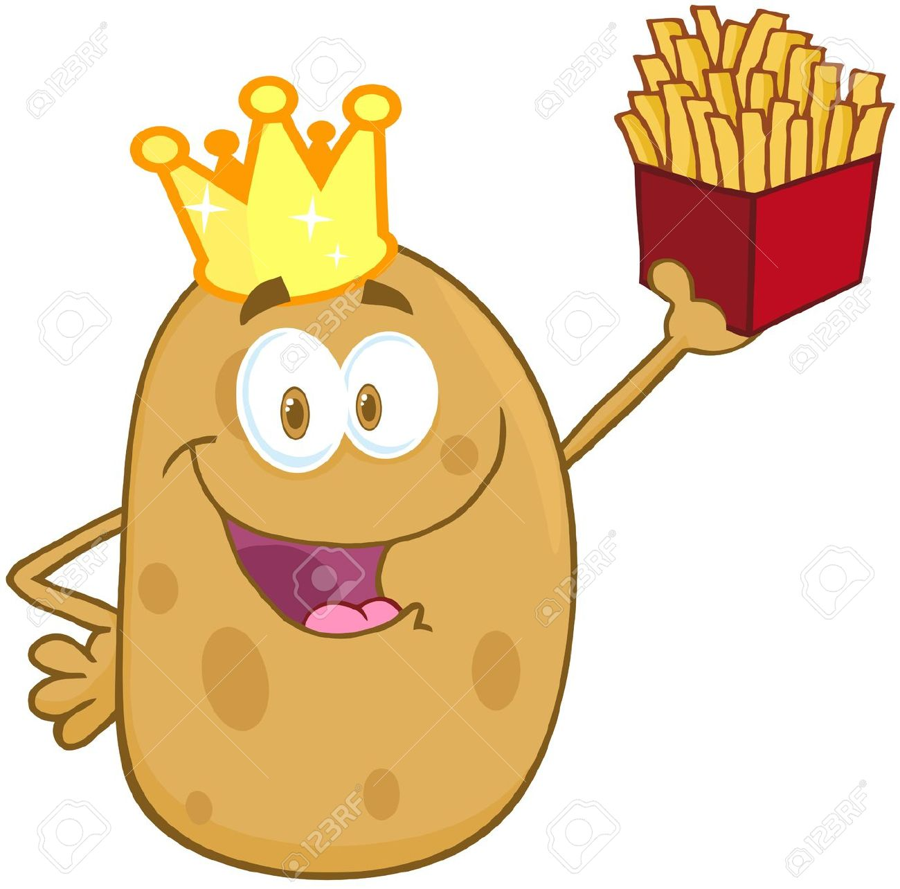 Potato With Crown Holding Up A French Fries Royalty Free Cliparts.