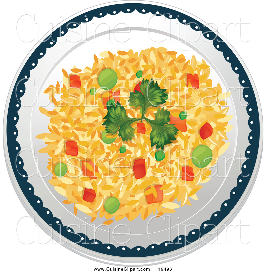 Cuisine Clipart of a Plate of Vegetable Fried Rice by colematt.