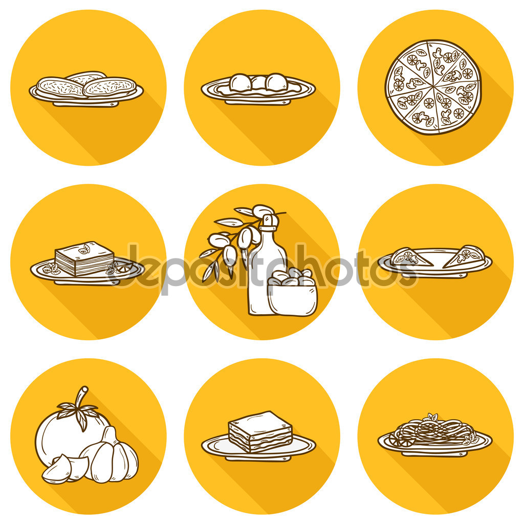 Set of cartoon objects on american food theme: fried potato, hot.