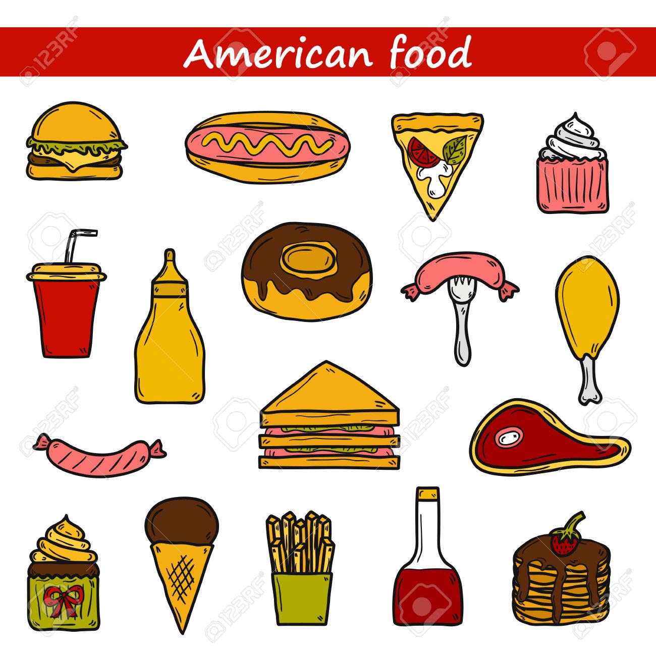 Set Of Cartoon Objects On American Food Theme: Fried Potato.