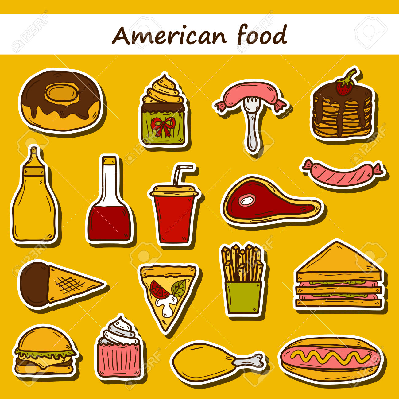 Set Of Cartoon Stickers On American Food Theme: Fried Potato.