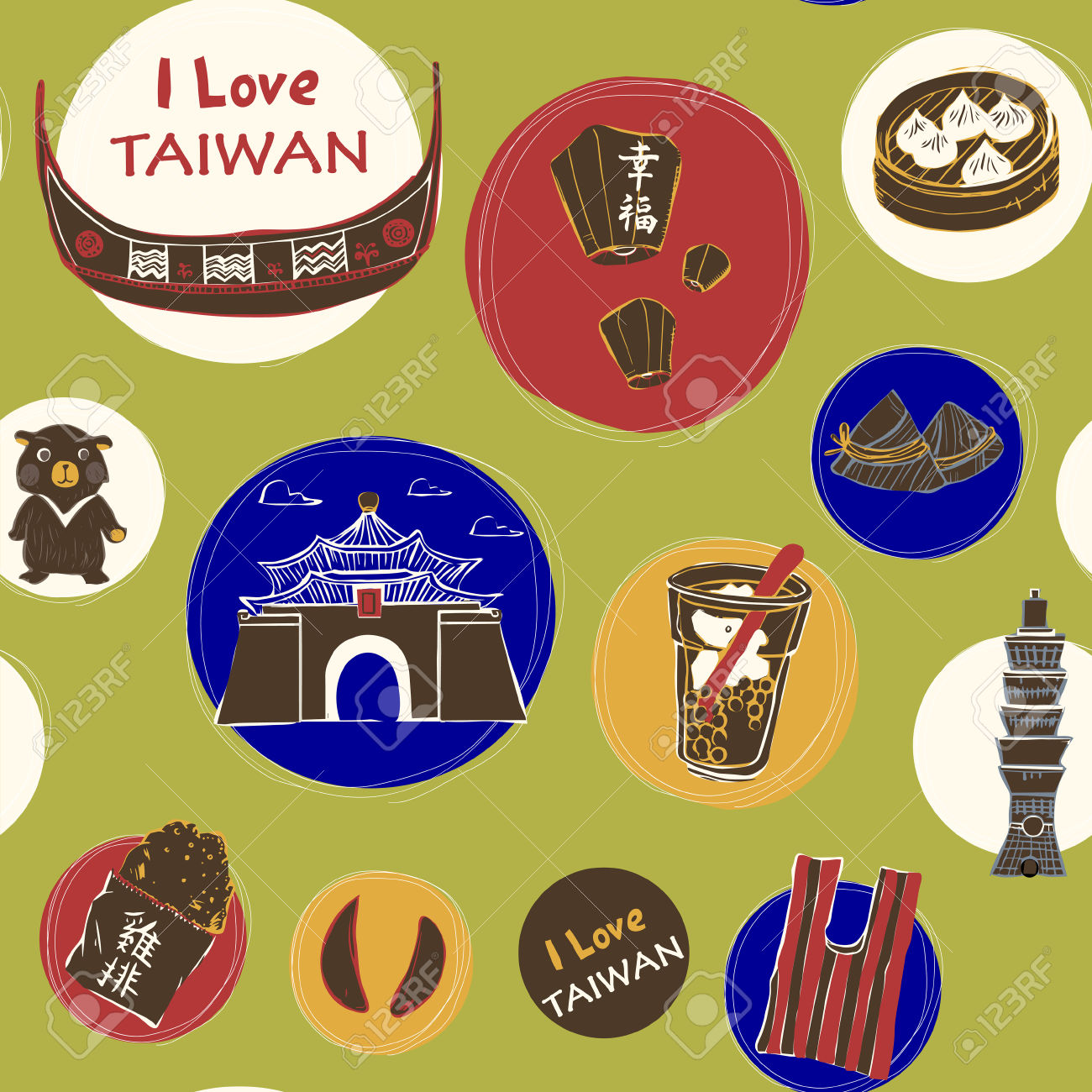 Lovely Hand Drawn Travel Concept Background With Landmarks And.