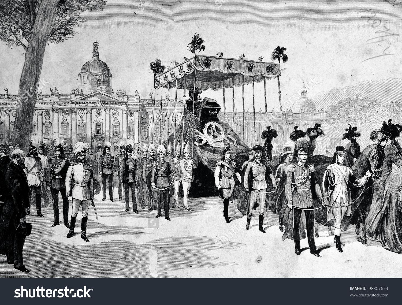Death German Emperor Friedrich Iii Funeral Stock Photo 98307674.