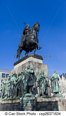 Stock Photos of Friedrich Wilhelm III monument in Cologne Germany.