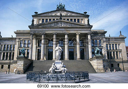Stock Photography of Friedrich Schiller statue at city square.