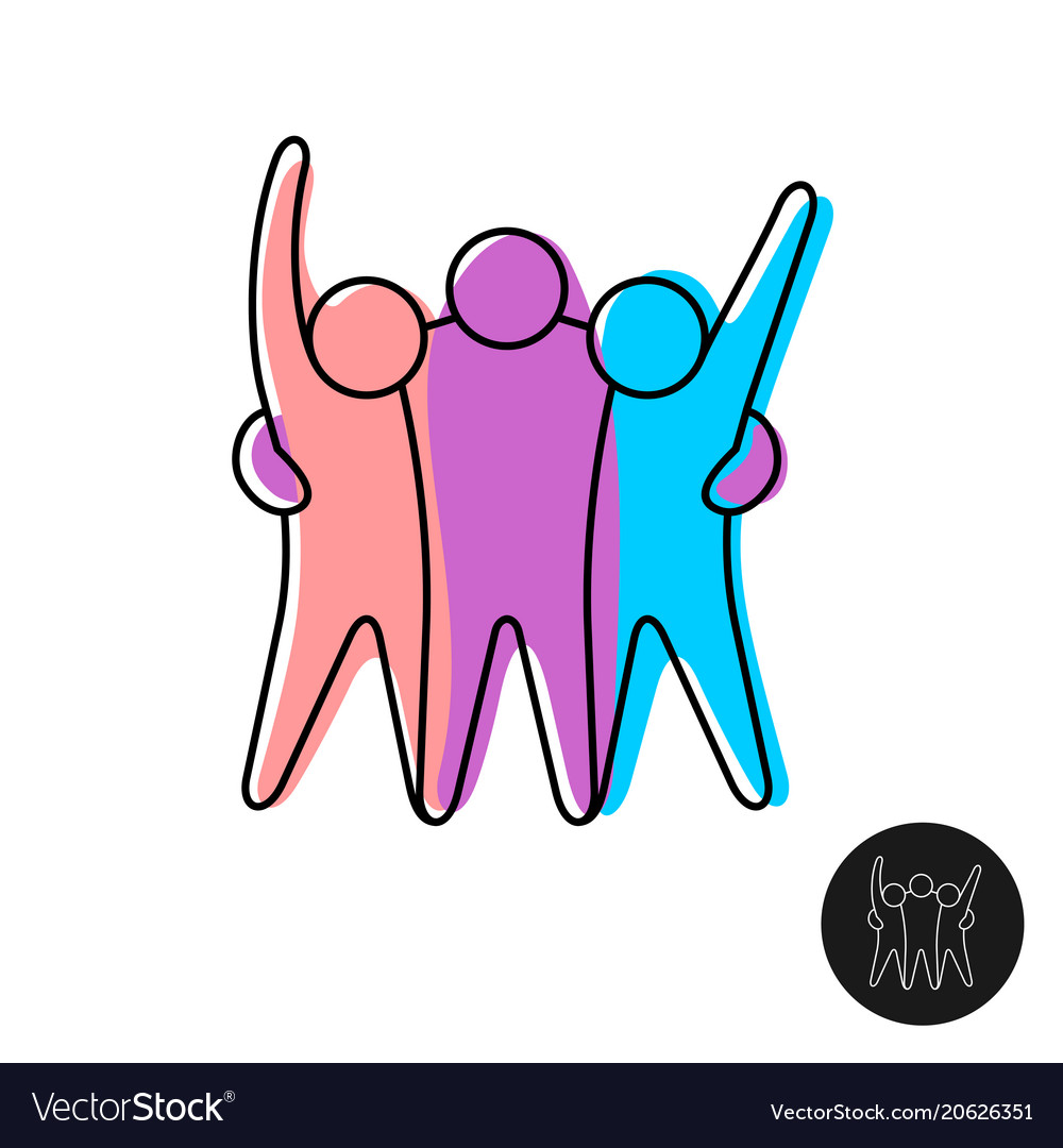 Happy three friends line style logo.