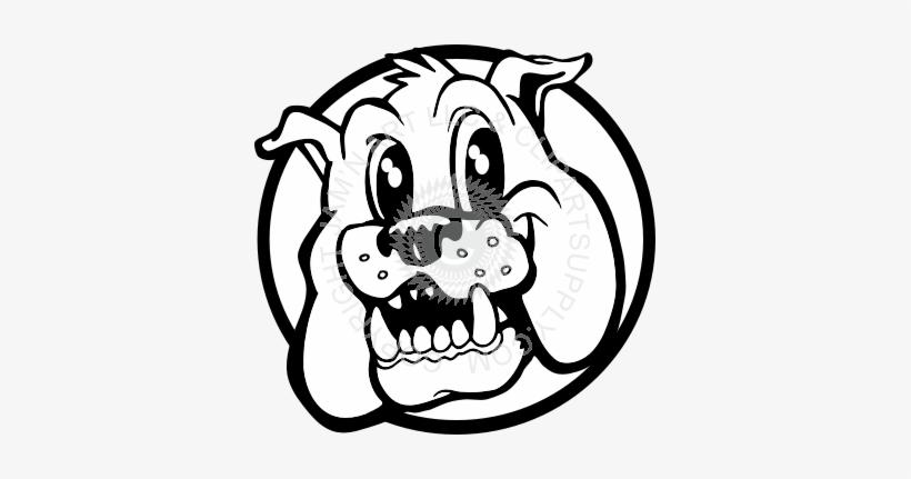Vector Black And White Bulldog Face Clipart.