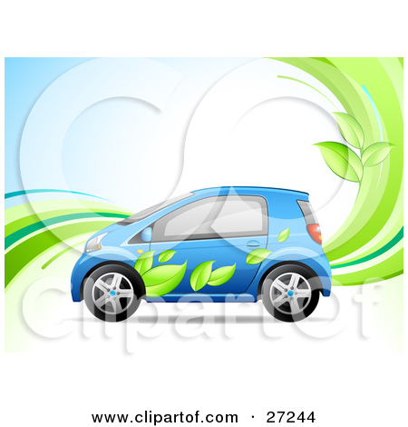 Clipart Illustration of a Blue Compact Car With A Green Leaf Paint.