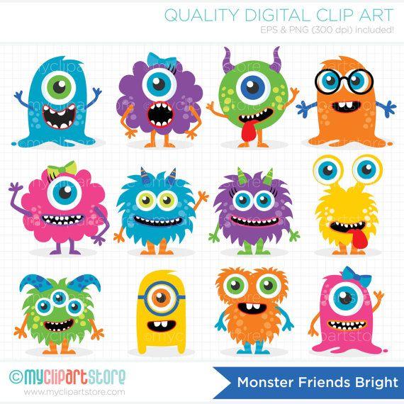Monster Clipart, baby monster, cute monster, friendly monster.