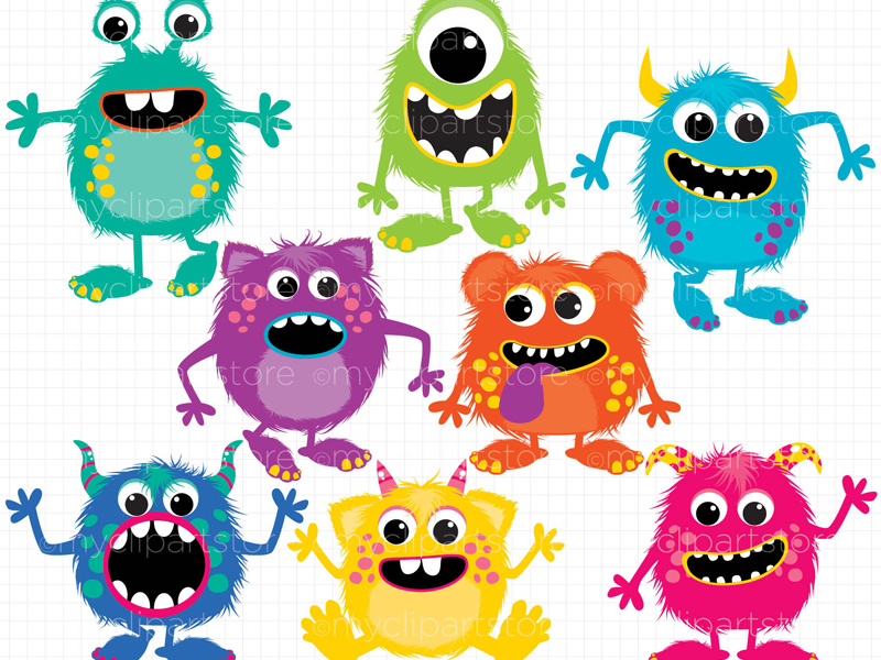 Clipart Fluffy Monsters by Linda Murray on Dribbble.