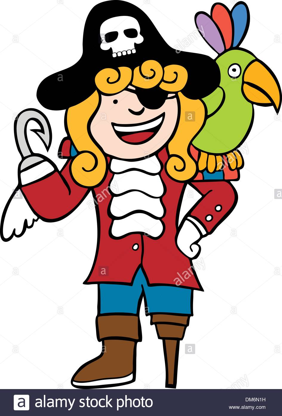 Friendly Pirate with Parrot Stock Vector Art & Illustration, Vector.