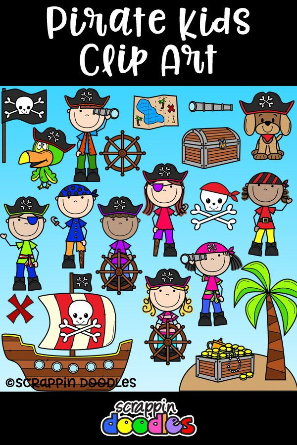 Pirate Kids Clipart {Scrappin Doodles Clipart}.