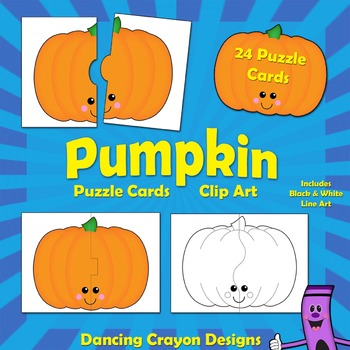 Pumpkin Clipart: Pumpkin Puzzle Cards.