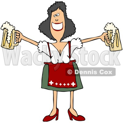 Free (RF) Clipart Illustration of a Friendly Oktoberfest Woman.