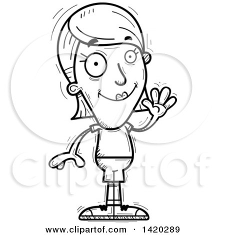 Clipart of a Cartoon Black and White Lineart Doodled Friendly.