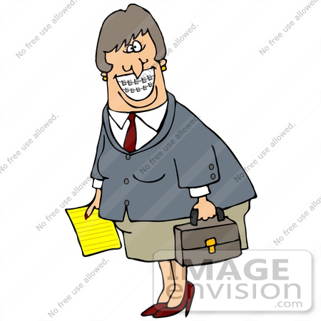 Clip Art Graphic of a Friendly Caucasian Business Woman Carrying a.