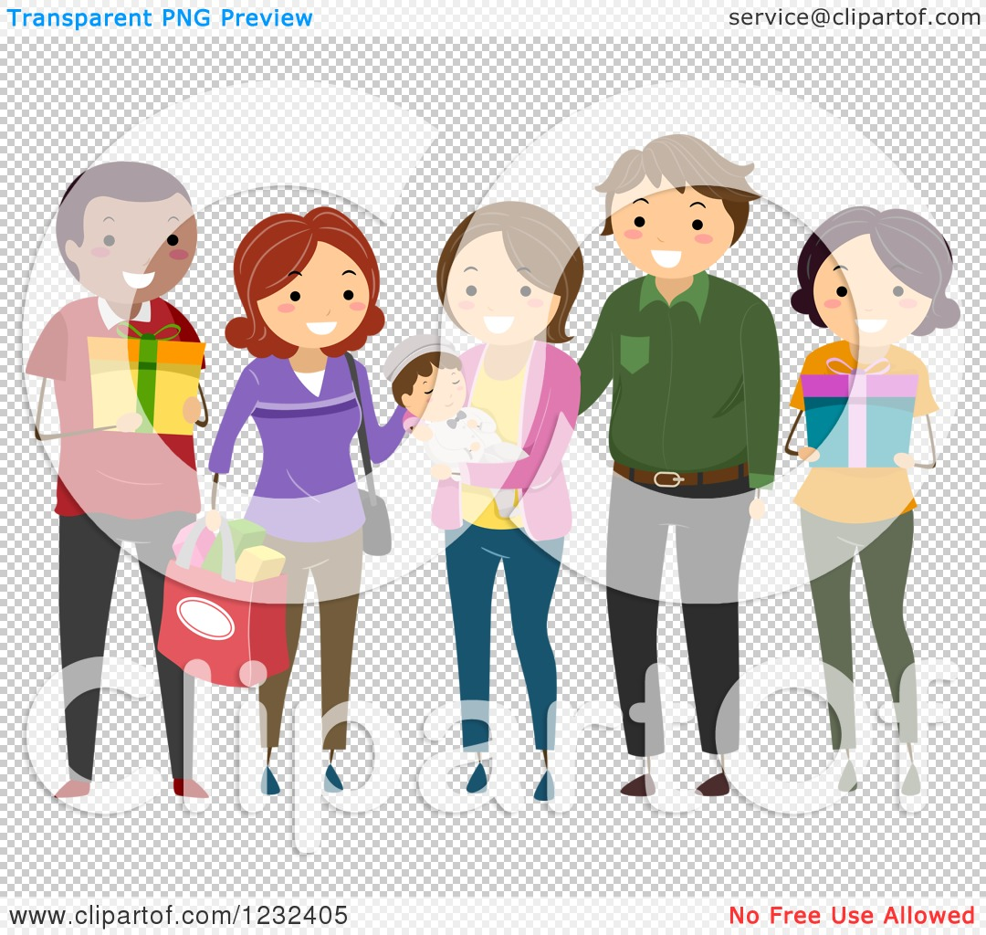 Clipart of a Group of Diverse Godparents and Friends at a Baby.
