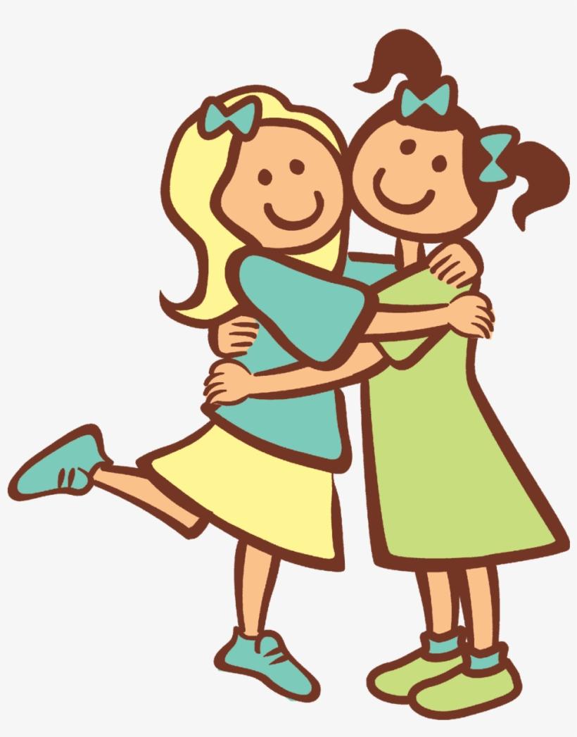 2 Girls Hugging As Best Friends.