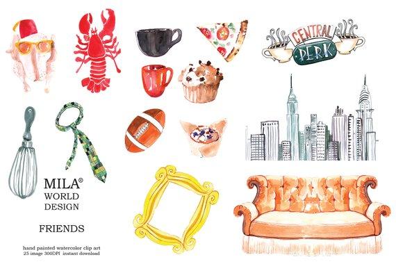 Watercolor Clip Art Friends Tv Series, Friends TV Show.