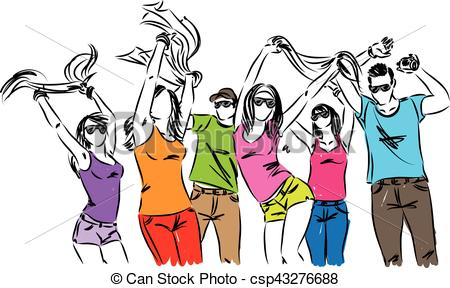 happy people friends dancing illustration.