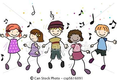Kids dancing clip art.