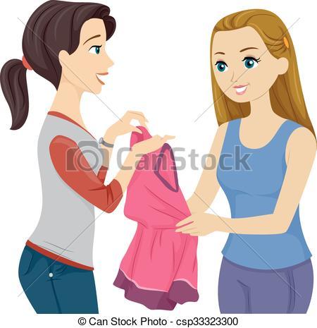 Vector Clipart of Teen Girls Friends Borrow Dress.