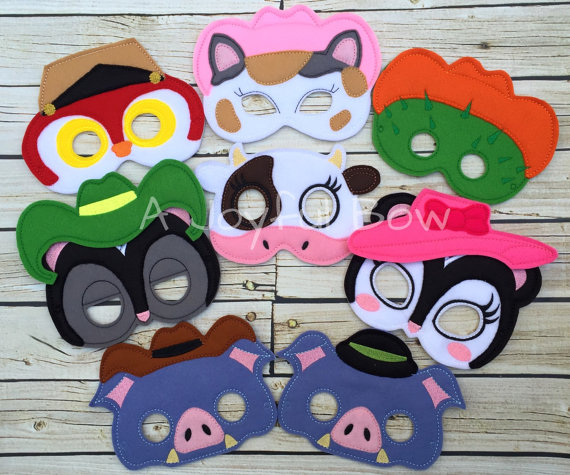 Sheriff Cat and friends dress up and birthday party favor masks.