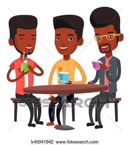 Group of men drinking hot and alcoholic drinks. Clipart.