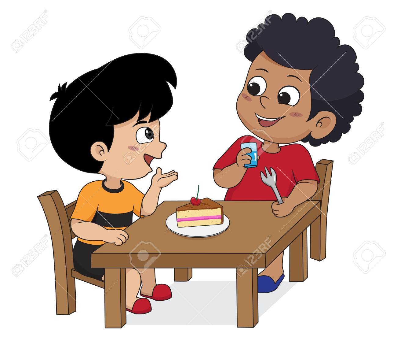 Kid eating and talking with friends.Vector and illustration..
