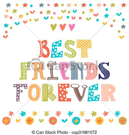 Cute friends forever clipart.