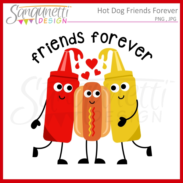 Sanqunetti Design: Hot Dog Friends Clipart.