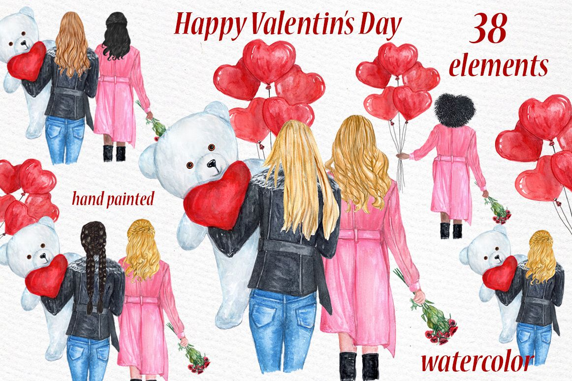 Valentines day girls clipart, Best friend clipart.