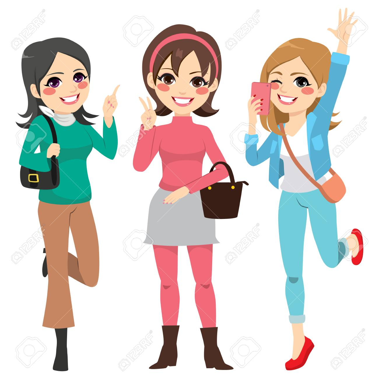 Cute happy girls friends with fashion clothes having fun..