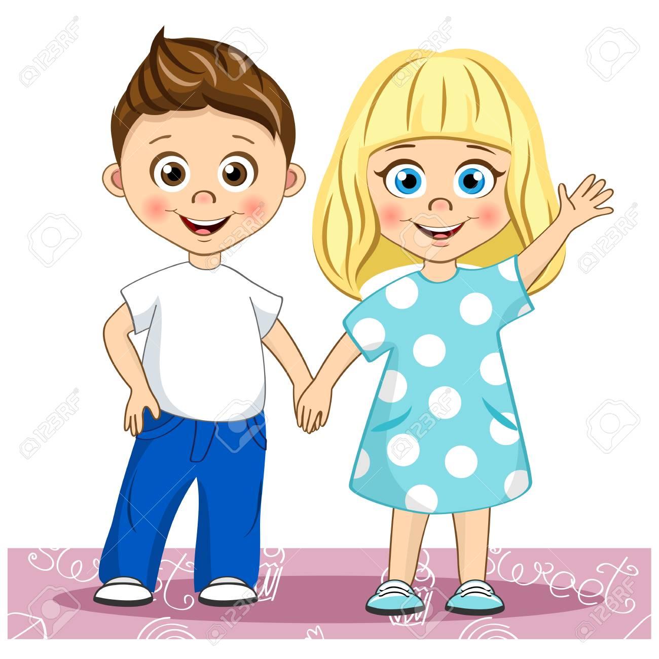 Vector cute smiling children Best Friends. Stylish kids holding...