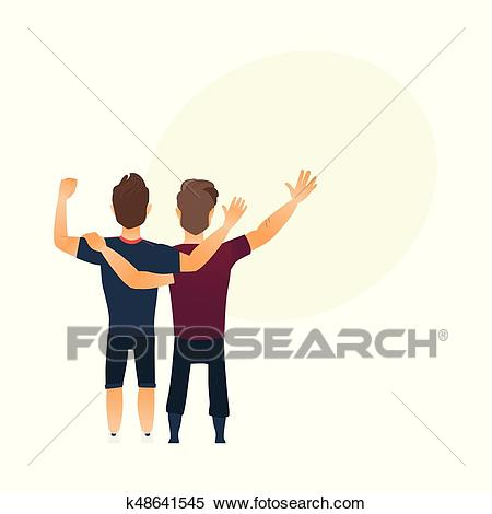 Back view portrait of boys, men, best friends standing, hugging Clipart.